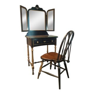 Stickley Bros. Vanity W/ Tri Fold Mirror & Chair