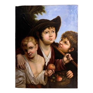 18th Century Spanish School Painting of Three Boy For Sale