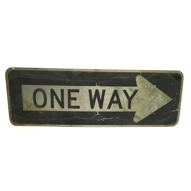 Vintage 'One Way' Arrow Road Sign - Image 1 of 5