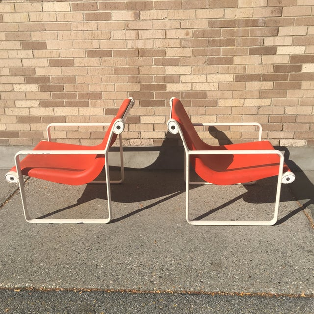 Knoll Iconic Orange Shell Lounge Chairs - A Pair - Image 2 of 8