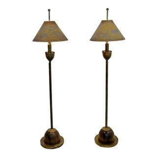 1960s Mid-Century Modern Hart Associates Brass Floor Lamps - a Pair
