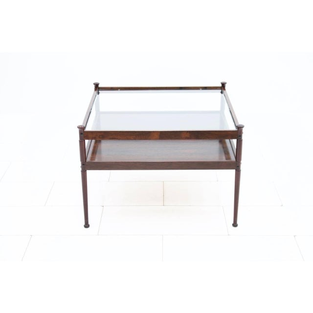 1960s Scandinavian Glass and Wood Coffee Table 1960s For Sale - Image 5 of 5