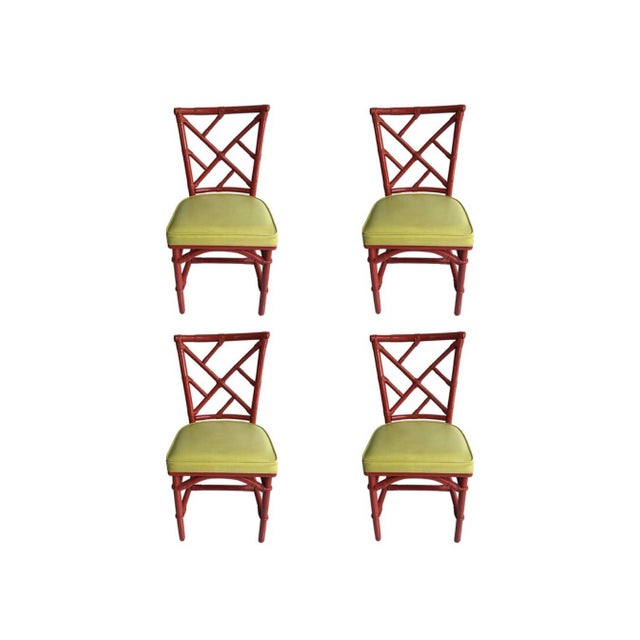 Bamboo Mid-Century Modern Chinese Chippendale Dia Bamboo Red Side Chairs - Set of 4 For Sale - Image 7 of 7