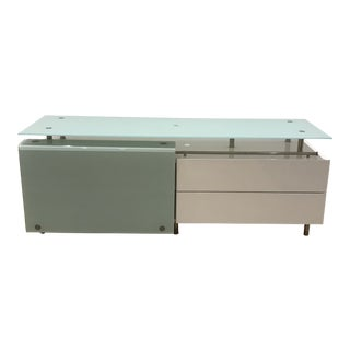 Contemporary Italian Glass & White Lacquer Credenza For Sale
