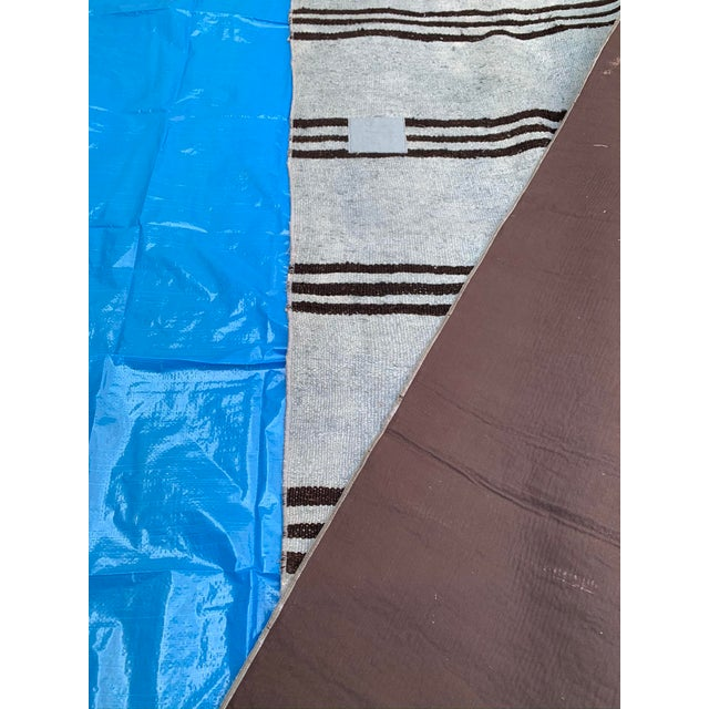 Textile Mid 20th Century Vintage Blue & Brown Stripe Hemp Runner-3′6″ × 9′2″ For Sale - Image 7 of 8