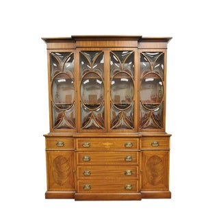 1940s Vintage Georgian Style Bubble Glass Satinwood Inlay Mahogany Breakfront Cabinet For Sale