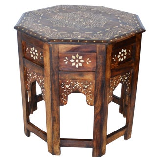 Indian Bone Fitted Octagonal Side Table For Sale