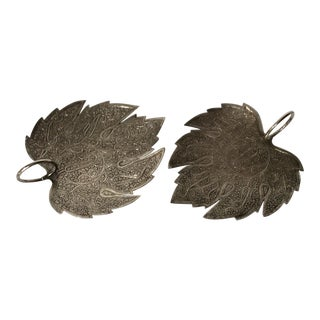 Sterling Silver Leaf Platters - A Pair For Sale