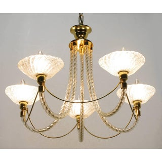 Murano Rope Glass and Brass Five-Arm Chandelier in the Manner of Barovier Preview
