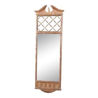 Palladio Italian Neoclassical Painted and Parcel Gilt Hand-Carved Wall Mirror, Circa 1960s For Sale
