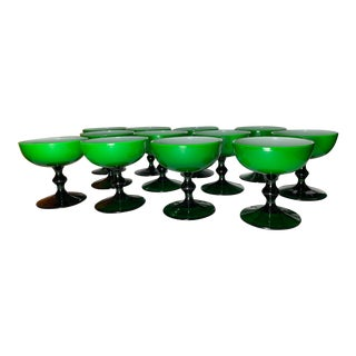 1960s Carlo Moretti Emerald Green and White Cased Glass Champagne Goblets - Set of 12 For Sale