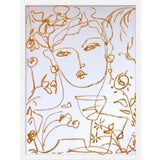 """Image of Medium """"Flowers and Wine in Mustard"""" Print by Leslie Weaver, 19"""" X 25"""" For Sale"""