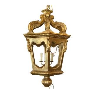 18th C Style Italian Rococo Gilt-Wood Lantern Chandelier For Sale