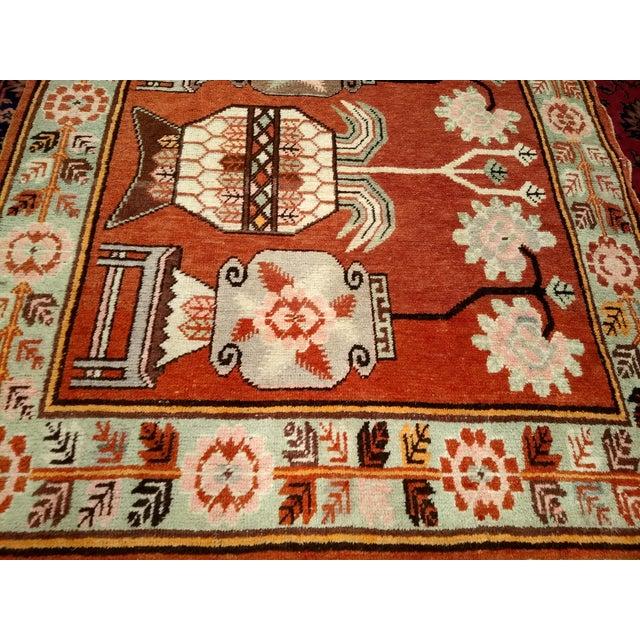 Brick Red Vintage Khotan Vase Carpet - 5′ × 8′ For Sale - Image 8 of 13