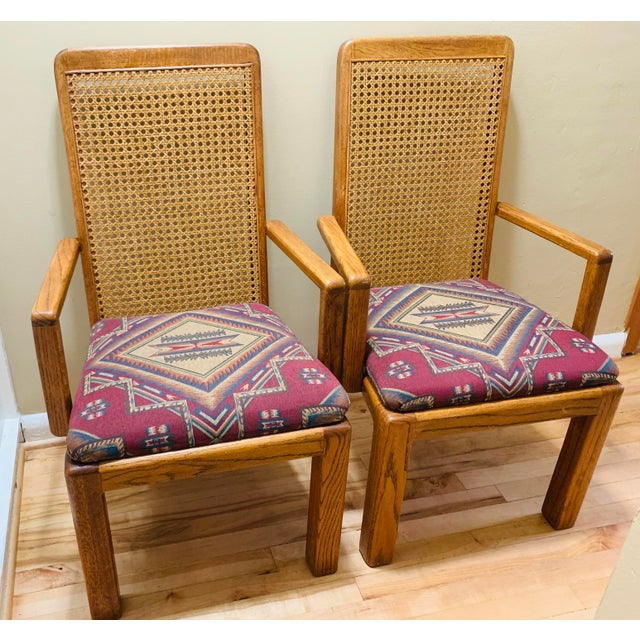 Mid-Century Lou Hodges Style Tall Cane Back Chairs- A Pair For Sale - Image 9 of 9