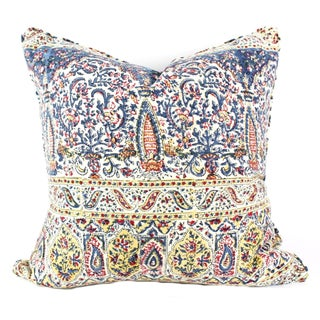 Vintage Indian Hand Block Pillow For Sale