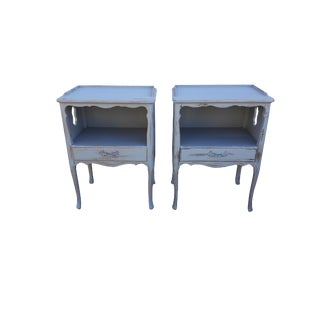 Pair Vintage French Farmhouse Painted Nightstands French Shabby Paris Apartment Cottage Night Stands French Gray Distressed Night Tables. For Sale
