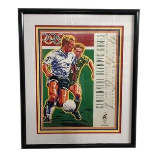1990s Vintage Original Atlanta Summer Olympics Framed Soccer Poster For Sale
