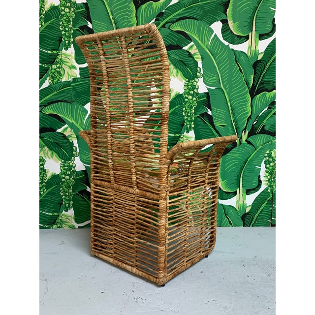 Brown Rattan Jute Rope Wrapped Dining Chairs, Set of 6 For Sale - Image 8 of 13