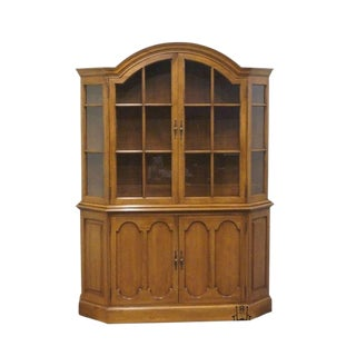 "20th Century Traditional Davis Cabinet 56"" Antique Walnut Solid Wood China Cabinet For Sale"