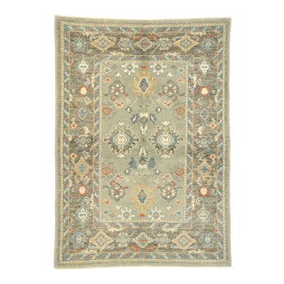 Contemporary Turkish Oushak Accent Rug - 04'01 X 05'08 For Sale