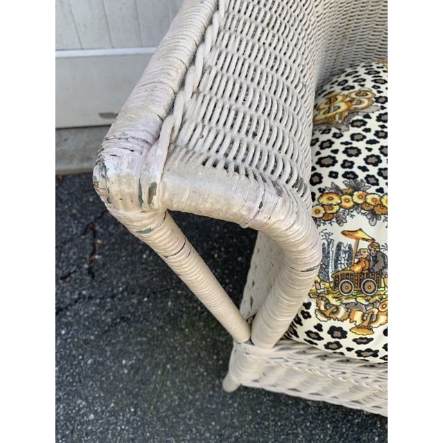 Vintage Heywood-Wakefield Wicker Sofa Set With Leopard Pattern Cushions - Set of 3 For Sale - Image 12 of 13