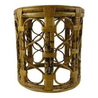 Bamboo & Rattan Tabouret Side Table For Sale