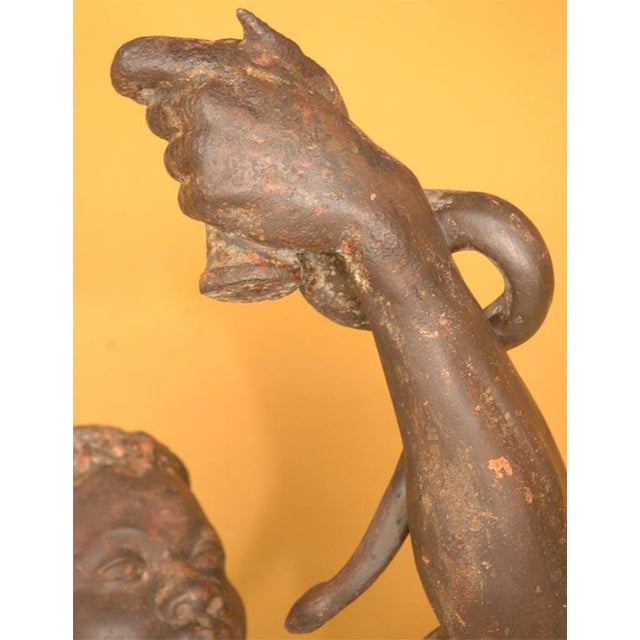 Life Size Exceptional and Rare Pair of Cast Iron Blackamoors - Image 5 of 9