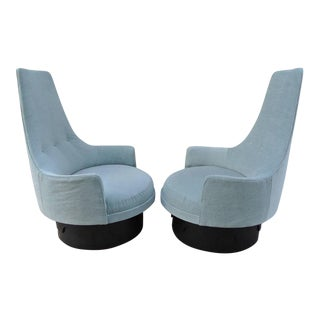 Mid 20th Century Adrian Pearsall High Back Barrel Chairs- A Pair For Sale