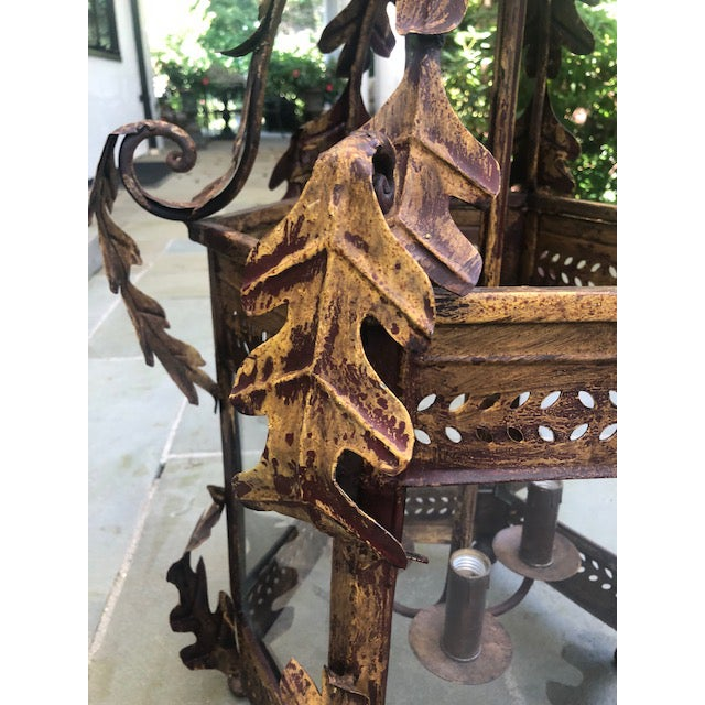 Two Worlds Arts Custom Large Scale Gilt Tole Chandelier/Hall Lantern For Sale - Image 11 of 13