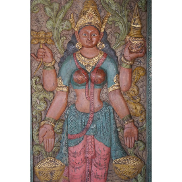 Asian Vintage Carved Lakshmi Hindu Goddess of Wealth Barn Door Colorful Wall Panel Relief For Sale - Image 3 of 4