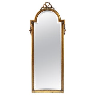 19th Century Tall Louis XVI Carved Giltwood Mirror For Sale