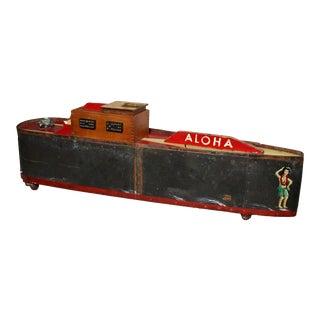 "Large Handmade Tramp Art Hawaiian ""Toy Ship"" Box For Sale"