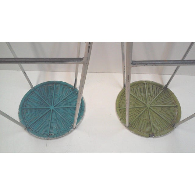 Iron & Wicker Bar Stools -- A Pair - Image 9 of 9