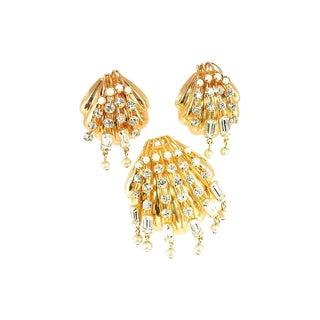 Crystal Shell Brooch & Earrings Set, 1960s For Sale