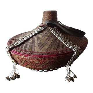 Ethiopian Amhara Lidded Cowrie Shell Basket For Sale