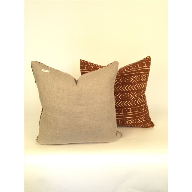 Vintage African Mudcloth Pillows - a Pair - Image 3 of 4