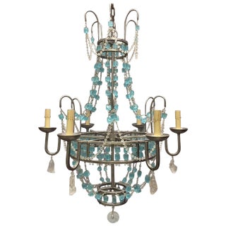 Italian Rock Crystal and Crystal Chandelier For Sale