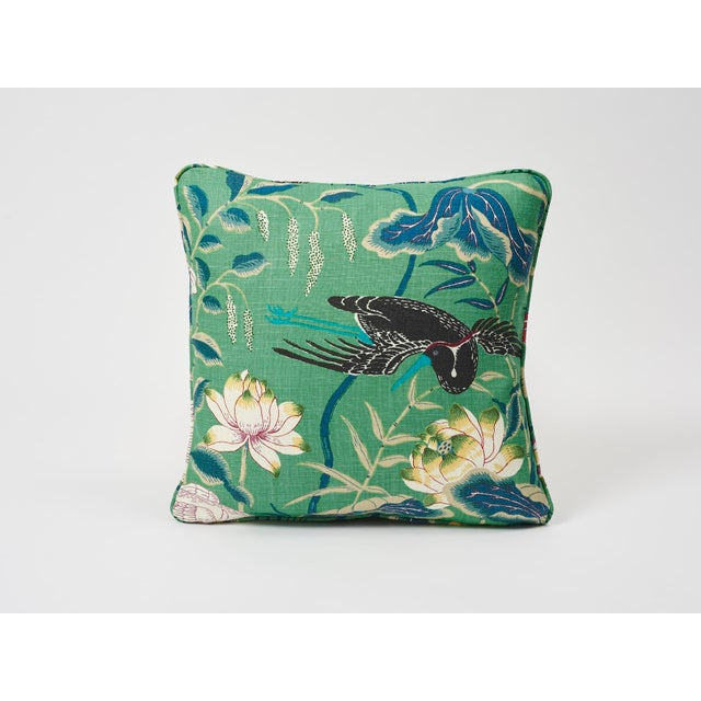 2010s Schumacher Double-Sided Pillow in Lotus Garden Linen Print For Sale - Image 5 of 6
