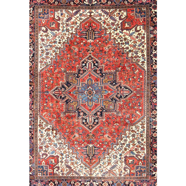Traditional 1930s Semi Antique Heriz Rug - 9′3″ × 12′5″ For Sale - Image 3 of 12