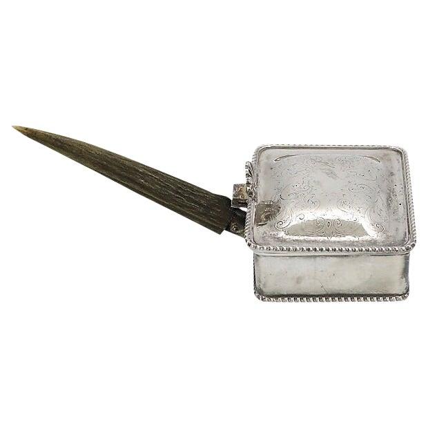 Vintage Stag Horn & Silver-Plate Silent Butler For Sale