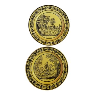 18th Century French Canary Yellow Creil Plates With Hunting Scenes - a Pair For Sale
