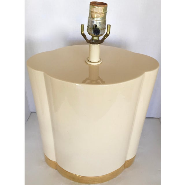 Gold and Beige Ceramic Table Lamp - Image 4 of 7
