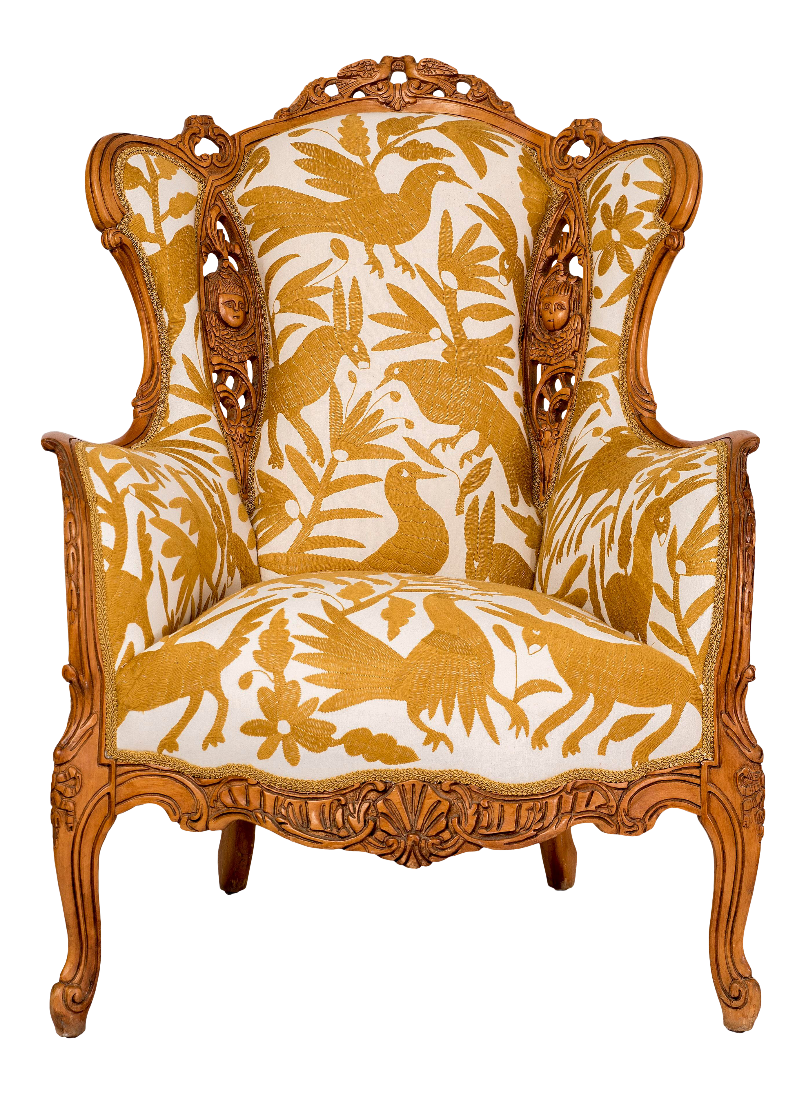 Vintage Carved Birds And Angels With Otomi Hand Embroidery Wingback Chair