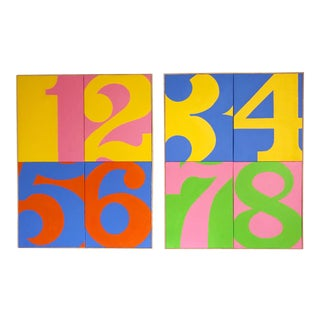 Original Pop Art Typographic Numbers Paintings by J. Marquis - Set of 2 For Sale