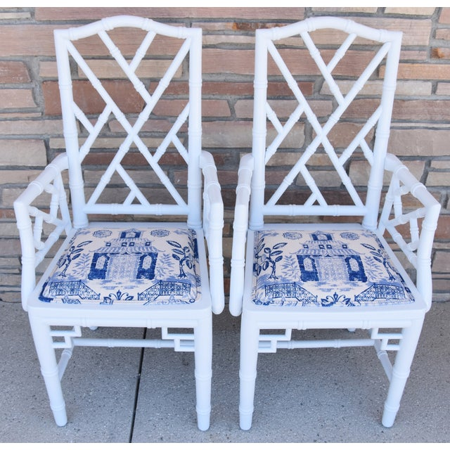 1950s Chinoiserie Faux-Bamboo Chippendale-Style Dinning Armchairs - Set of 6 For Sale - Image 9 of 13