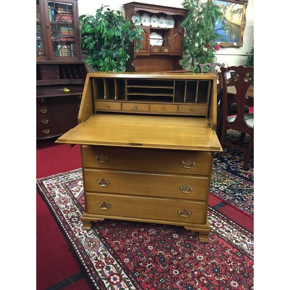 Traditional Vintage Traditional Beals Maple Secretary Desk For Sale - Image 3 of 10