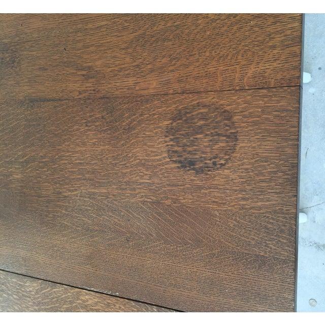 Wicker & Oak Drop-Leaf Dining Table For Sale - Image 7 of 10
