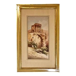 Late 19th Century Antique Stefano Donadoni Temple of Vesta Watercolor Painting For Sale