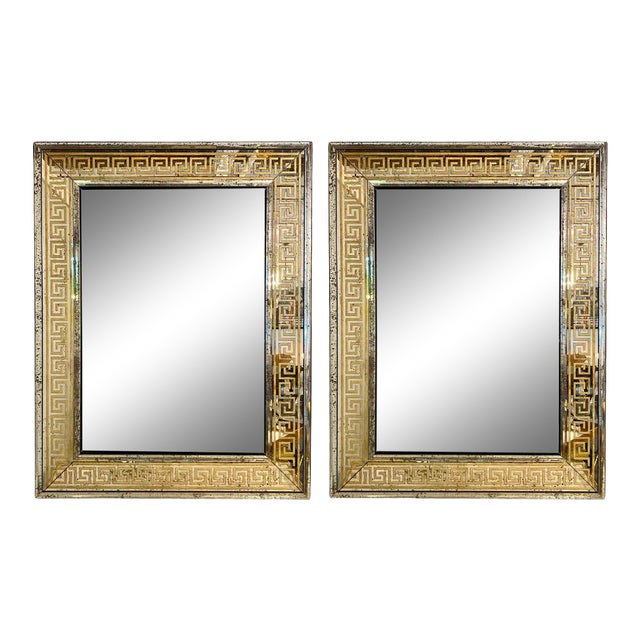 Hollywood Regency Mirrors Gilt Gold Greek Key Design Wall, Console Pier a Pair For Sale